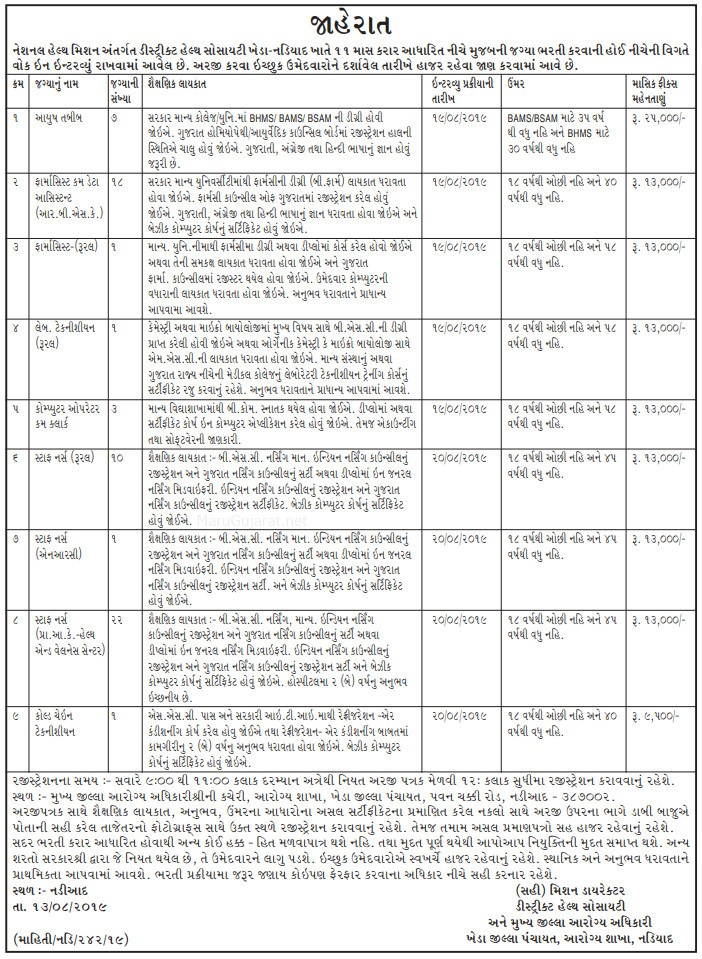 District Health Society Nadiad Recruitment for Computer